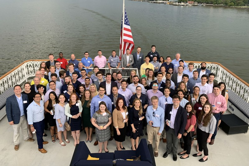 Alumni on networking boat cruise